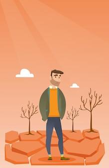 Homme triste dans l'illustration vectorielle du désert.
