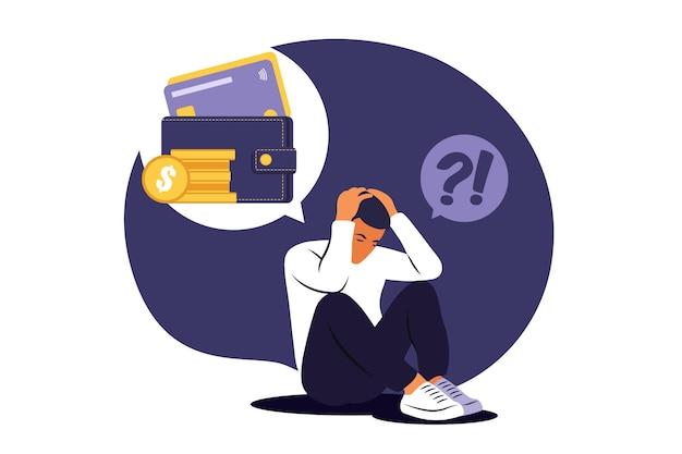 Homme triste déprimé réfléchissant aux problèmes