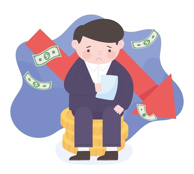 Homme triste avec projet de loi assis sur des pièces de monnaie