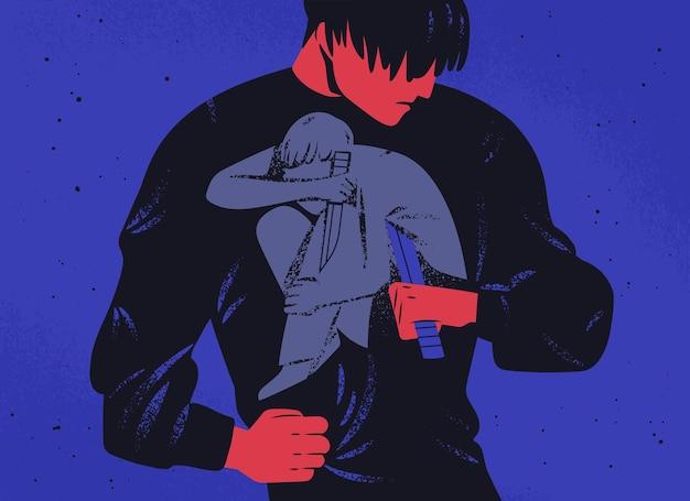 Homme triste et sa personnalité intérieure tenant un couteau