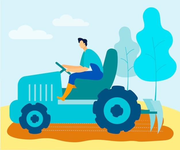 L'homme en uniforme sur tracteur cultive la terre sur le terrain.