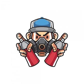 Homme urbain avec masque à gaz et pots de peinture