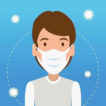 Homme utilisant un masque facial avec des particules 2019-ncov