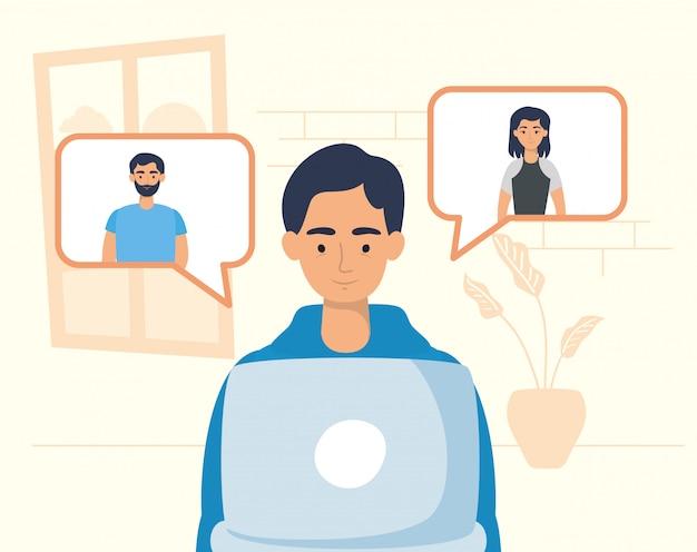 Homme utilisant un ordinateur portable pour communiquer et rester à la maison