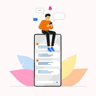 Homme utilisant un smartphone pour discuter sur les réseaux sociaux