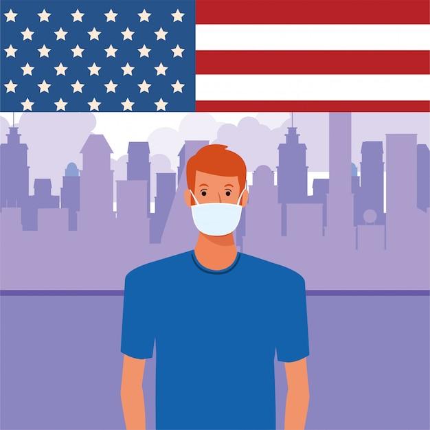 Homme, utilisation, masque facial, à, drapeau usa