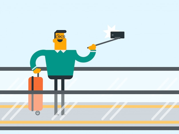Homme, utilisation, smartphone, escalator, aéroport
