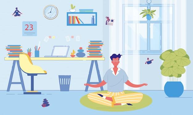 L'homme utilise la méditation pour reposer son esprit à la maison.