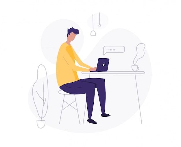 L'homme utilise un ordinateur portable. travailler à la maison. pigiste. jeune homme, illustration étudiante.
