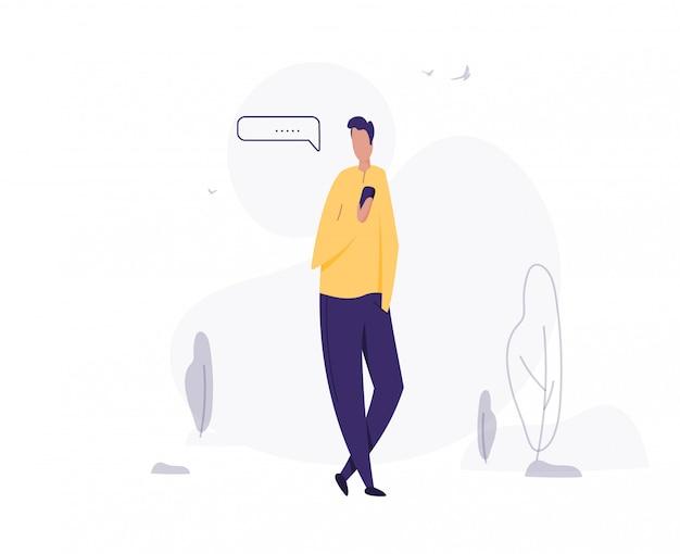 L'homme utilise un smartphone. message texte. jeune homme marchant avec illustration de smartphone.