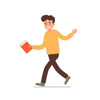 L'homme va avec un livre dans ses mains et invite à aller ensemble