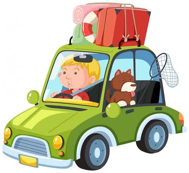 Un homme va sur road trip avec chien