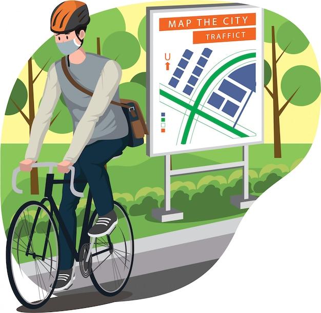 Un homme va travailler en utilisant son vélo illustration