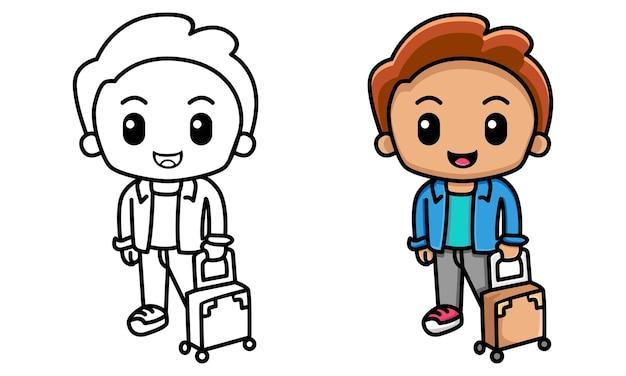 Homme avec une valise à colorier pour les enfants