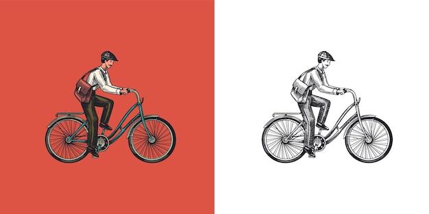 Un homme sur un vélo transport respectueux de l'environnement le facteur monte une étiquette d'emblème personnalisé vintage de vélo
