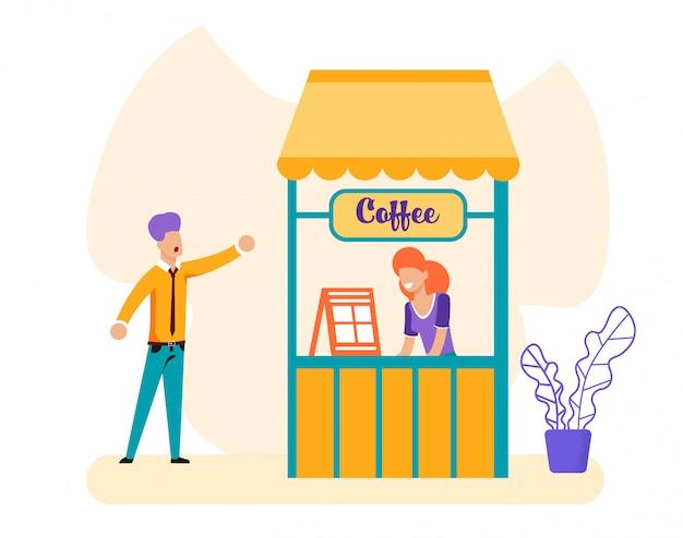 Homme et vendeuse à la boîte à café