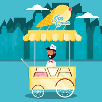 Homme de vente de crème glacée dans le personnage de kiosque