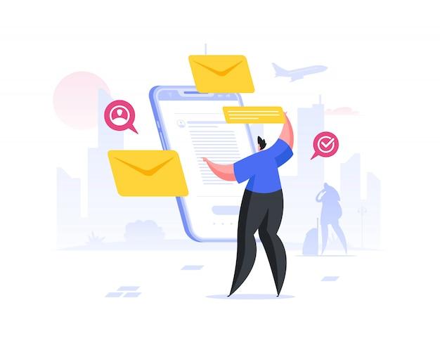Homme vérifiant les e-mails sur smartphone. illustration de personnes de dessin animé