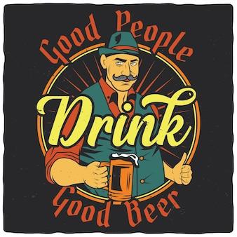 Homme avec verre de bière