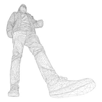 L'homme à la veste marche quelque part. espèces de différents côtés. illustration vectorielle d'une grille triangulaire noire sur fond blanc