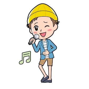 Un homme en veste et pantalon court avec un geste de chant de chanson