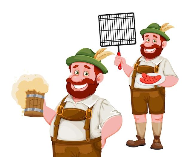 Homme en vêtements bavarois jeu de personnages de dessins animés drôles de deux poses festival de la bière de munich oktoberfest