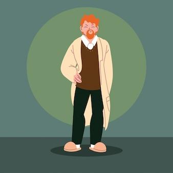 Homme en vêtements décontractés avec barbe