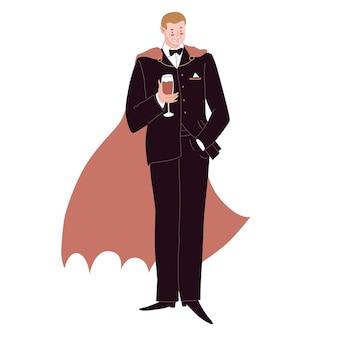 Homme vêtu d'un costume d'horreur dracula détient un vampire de vigne en manteau de smoking illustration vectorielle