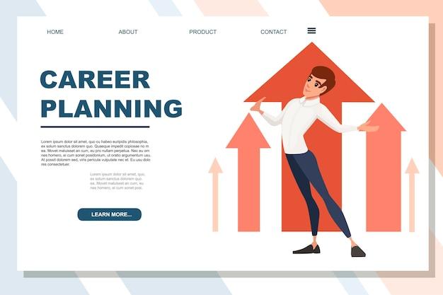 Homme vêtu d'un costume avec main levée planification de carrière conception de personnage de dessin animé illustration vectorielle plate sur fond blanc page de site web de bannière publicitaire.