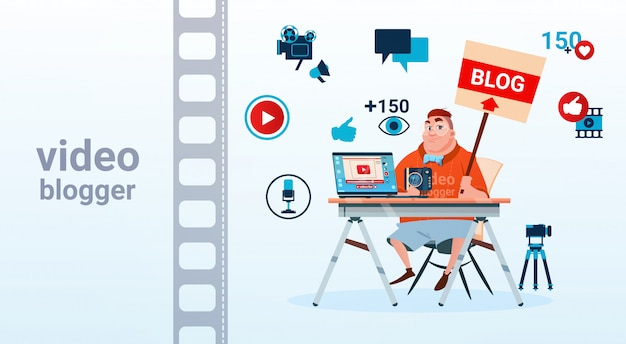 Homme vidéo blogger caméra écran d'ordinateur blogging souscrire concept