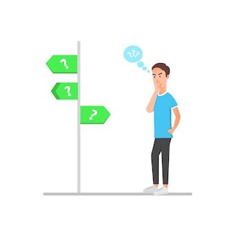 Homme avec un visage confus lors de la prise de décisions