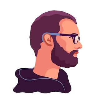 Homme le visage d'un homme avec une barbe et une moustache et des lunettes