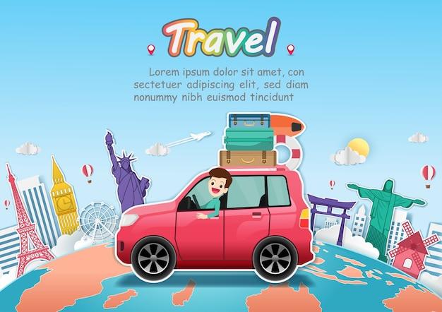 Homme en voiture voyage autour du monde.