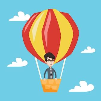 Homme volant en montgolfière.