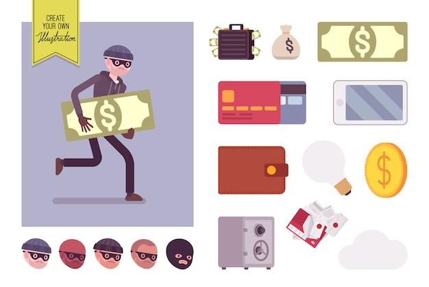 Homme voleur personnage runnig avec set de création de choses volées