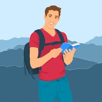 Homme voyageant avec sac à dos et livre