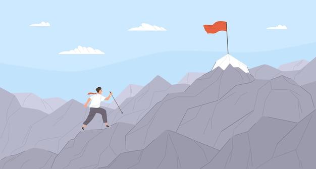 Homme voyageant à travers la crête de la montagne jusqu'au point de destination finale. employé de bureau grimpant des falaises