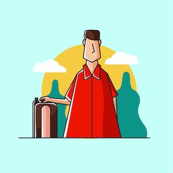 Homme voyageant avec valise