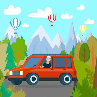 Homme voyageant en voiture à bright nature landscape