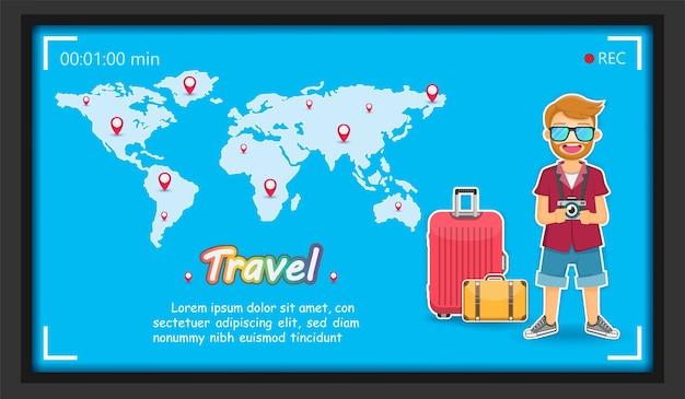 Homme voyageur et accessoires voyage