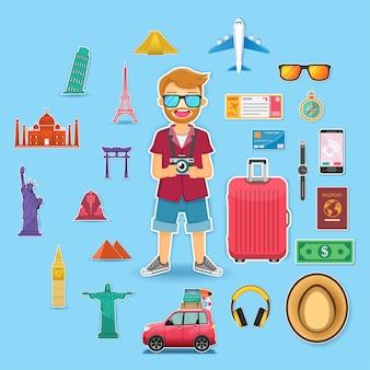 Homme voyageur et accessoires