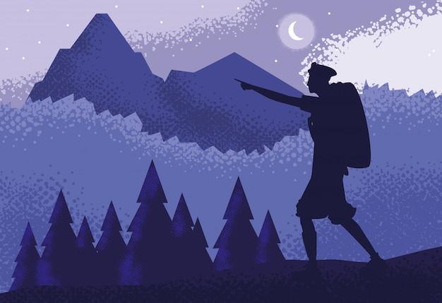 Homme voyageur dans la nature du paysage violet