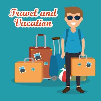 Homme voyageur avec valises personnages