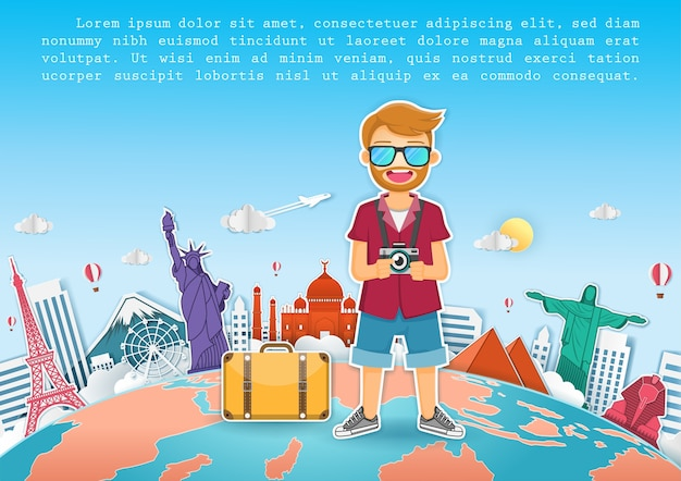 Homme voyageur voyager autour du monde concept