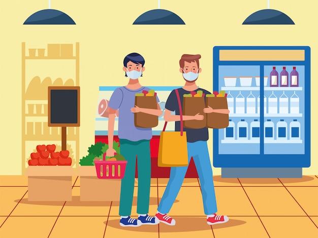 Hommes, achats, supermarché, figure, masque