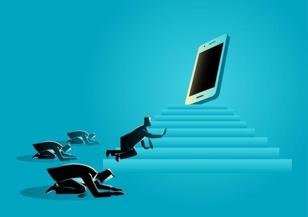 Hommes adorant un gadget ou un téléphone intelligent