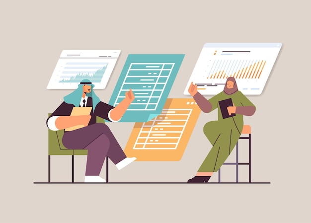 Hommes d'affaires arabes analysant des données financières sur des graphiques et des graphiques rapport de planification analyse de marché comptabilité concept de travail d'équipe illustration vectorielle pleine longueur horizontale