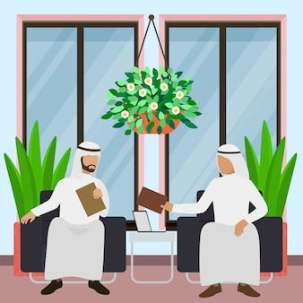 Hommes d'affaires arabes assis dans des fauteuils avec ordinateur et illustration de documents.