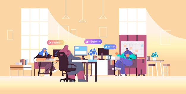 Les hommes d'affaires arabes communiquent dans des messageries instantanées par messages vocaux application de chat audio médias sociaux concept de communication en ligne illustration vectorielle horizontale pleine longueur