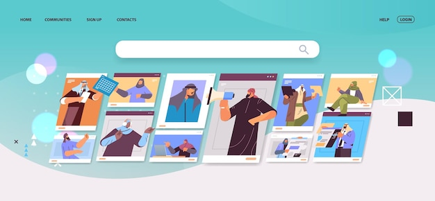 Les hommes d'affaires arabes dans les fenêtres du navigateur web discutant lors d'un appel vidéo conférence virtuelle communication en ligne concept de travail d'équipe illustration vectorielle horizontale